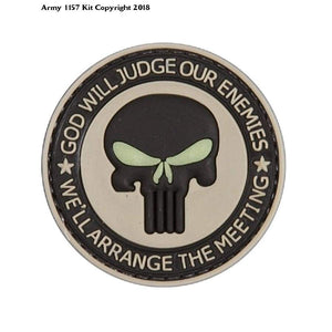 God Will Judge Our Enemies Tan PVC Airsoft Velcro Patch - Bear Essentials Clothing Company
