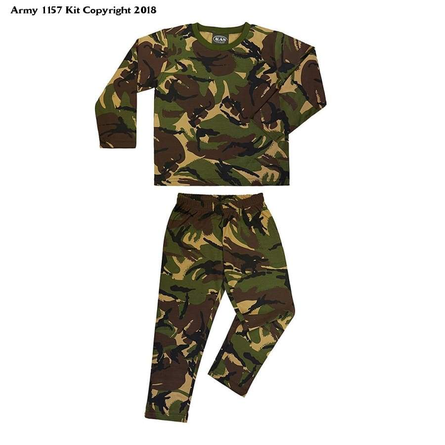 Kids Army Pyjamas Woodland Camouflage 100% Cotton - Ages 3-13 Available - Bear Essentials Clothing Company