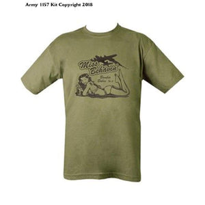 Kombat Mens Military Printed Army Combat British US Army Sexy Lady T-shirt Tshirt Miss Behavin Behaving WW2 D-Day Green - Bear Essentials Clothing Company