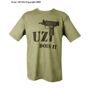 Kombat Mens Military Printed Army Combat British US Army Uzi Does It Machine Gun T-shirt Tshirt Green M16 - Bear Essentials Clothing Company