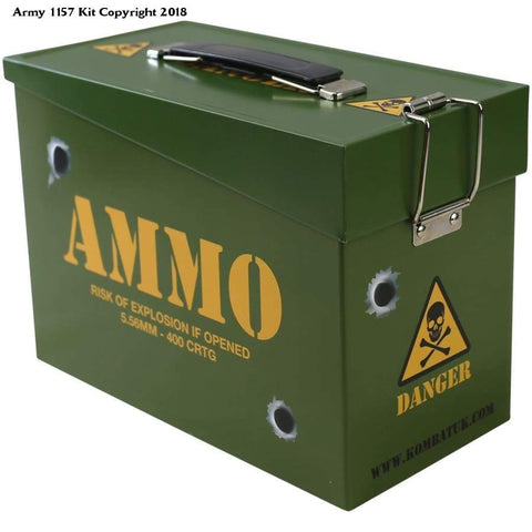 Kombat Uk Kids Army Ammo Tin Toy Storage Lunch Box Olive Green - N/a / Olive Green / 1 - Sports