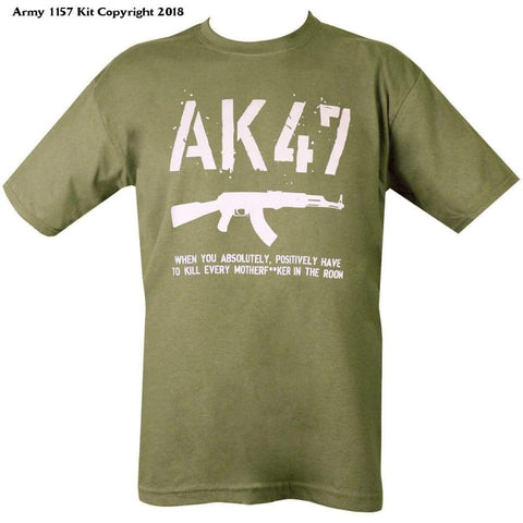 Kombat Uk Mens Ak47 T-Shirt-Olive Green - X-Large - Sports