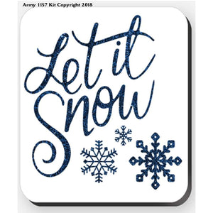 Let It Snow In Blue - Coaster. Part Of The Army 1157 Kit Christmas Collection - Tableware