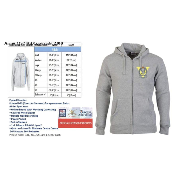 Ministry Of Defence Zip Hoodie With Army Air Corps Logo Front Only Official Mod Approved Merchandise - Hoodie