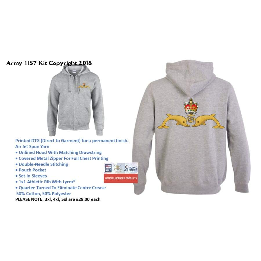 Ministry Of Defence Zip Hoodie With Submarines (2 Dolphins) Logo Front And Back. Official Mod Approved Merchandise - S - Hoodie