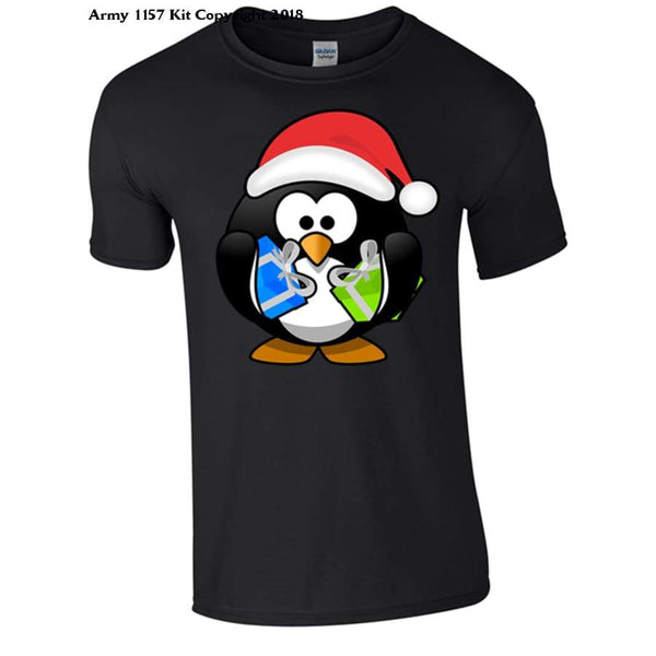 Penguin With Christmas Presents Part Of The Army 1157 Kit Christmas Collection - S / Black - T Shirt