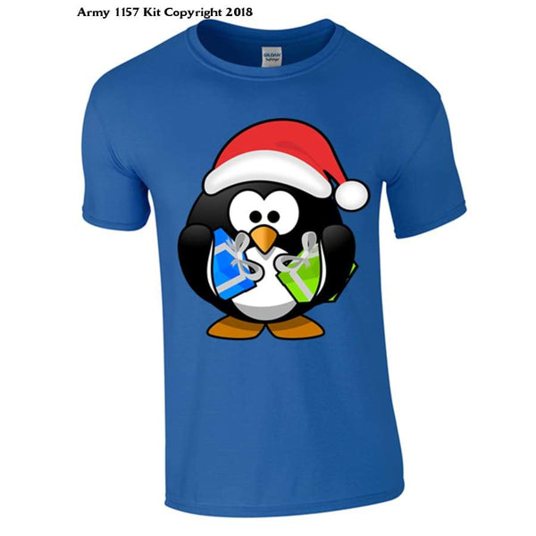 Penguin With Christmas Presents Part Of The Army 1157 Kit Christmas Collection - S / Blue - T Shirt