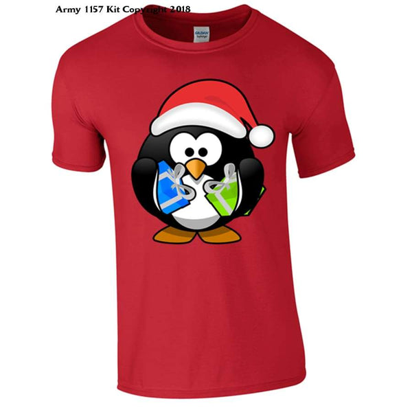 Penguin With Christmas Presents Part Of The Army 1157 Kit Christmas Collection - S / Red - T Shirt