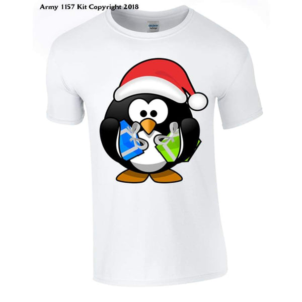 Penguin With Christmas Presents Part Of The Army 1157 Kit Christmas Collection - S / White - T Shirt