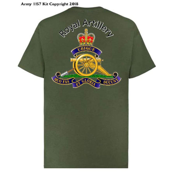 Royal Artillery T-Shirt Front And Back Logo Official Mod Approved Merchandise - S / Green - T Shirt