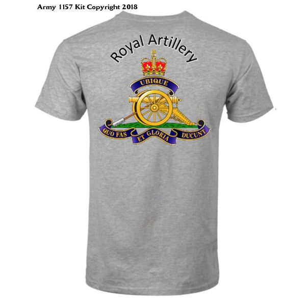 Royal Artillery T-Shirt Front And Back Logo Official Mod Approved Merchandise - S / Grey - T Shirt