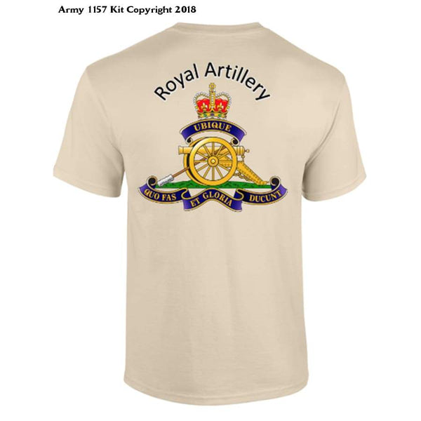 Royal Artillery T-Shirt Front And Back Logo Official Mod Approved Merchandise - S / Sand - T Shirt