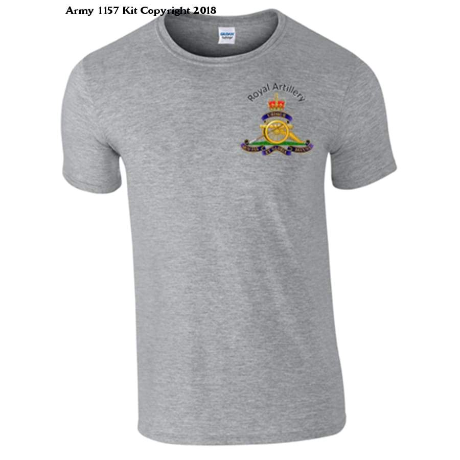 Royal Artillery T-Shirt Front Logo Only Official Mod Approved Merchandise - S / Grey - T Shirt