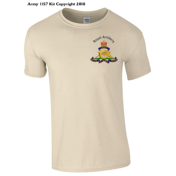 Royal Artillery T-Shirt Front Logo Only Official Mod Approved Merchandise - S / Sand - T Shirt