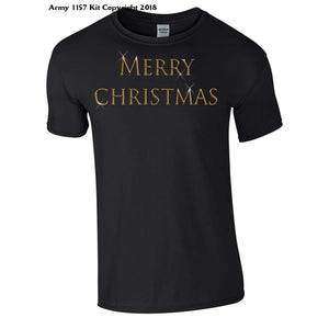 Simple Merry Christmas T-Shirt Part Of The Army 1157 Kit Christmas Collection - S / Black - T Shirt
