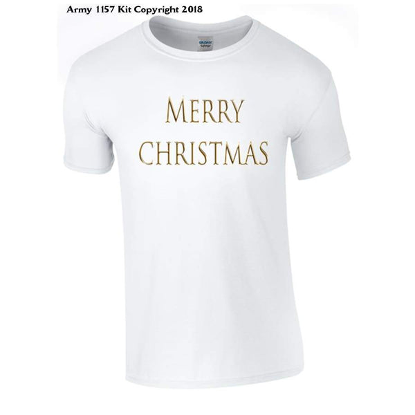Simple Merry Christmas T-Shirt Part Of The Army 1157 Kit Christmas Collection - S / White - T Shirt
