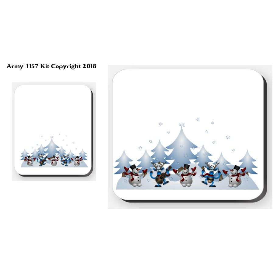 Snowmen Scene - 4 Placemats And 4 Coasters Set. Part Of The Army 1157 Kit Christmas Collection - Tableware