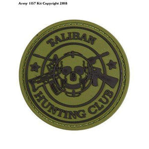 Taliban Hunting Club Military Pvc Rubber Badge Green Velro Back Trf Afghanistan - Sports