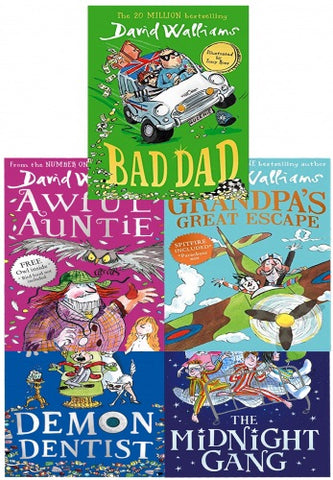 David Walliams Series 2 - 5 Books Collection Set (Midnight Gang, Bad Dad, Grandpas Great Escape, Awful Auntie, Demon Dentist)