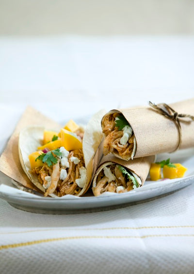 Smoked Adobo Chicken Tacos with Mango Salsa