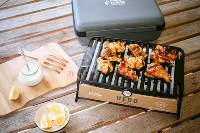 Chicken Wings with White BBQ Sauce on the HERO Grill