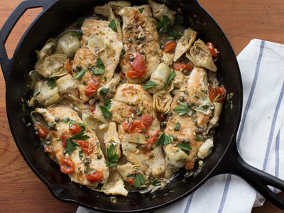 Skillet Chicken with Artichokes & Lemon