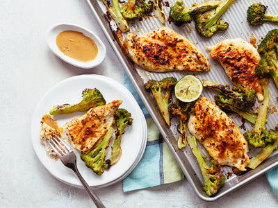 Sheet Pan Chicken Broccoli with Peanut Sauce