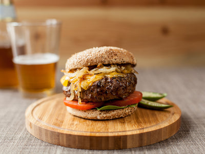 Coffee Rubbed Cheeseburgers with Smoked Cheddar