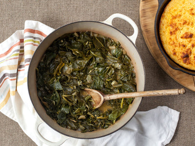 Collard Greens with Chicken Rub and Coconut Milk