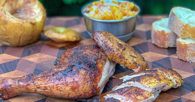 Spatchcocked Apple Wood Smoked Chicken and Cinnamon Apples