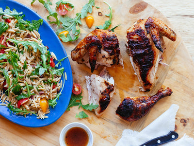 Herb Brined Grilled Chicken with Summer Orzo Salad