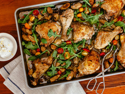 Roasted Lemon-Pepper Chicken with Potatoes and Greens