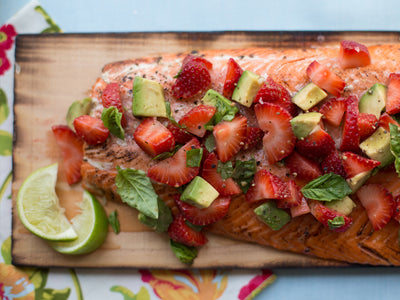 Planked Salmon with Strawberry Avocado Salsa