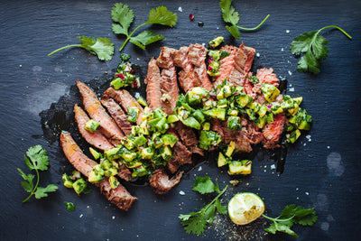Grilled Steak with Avocado Chimichurri