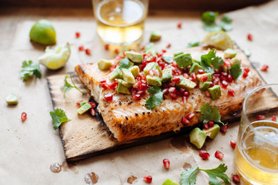 Planked Salmon with Avocado-Pomegranate Salsa
