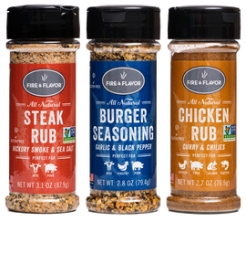 Fire & Flavor Rub & Seasoning Variety 3-Pack, (Steak, Burger, Chicken)