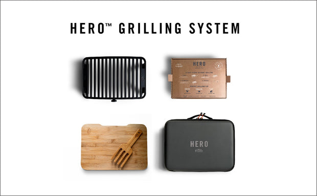Hero Grill System 'JUST ADD HEAT' Pack (1 Grill System + 5 Pods + Lighter + Gear)
