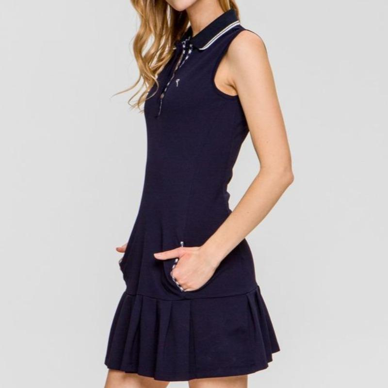 Chervò Jesi S/L Pleated Bottom Dress Navy-Open Court