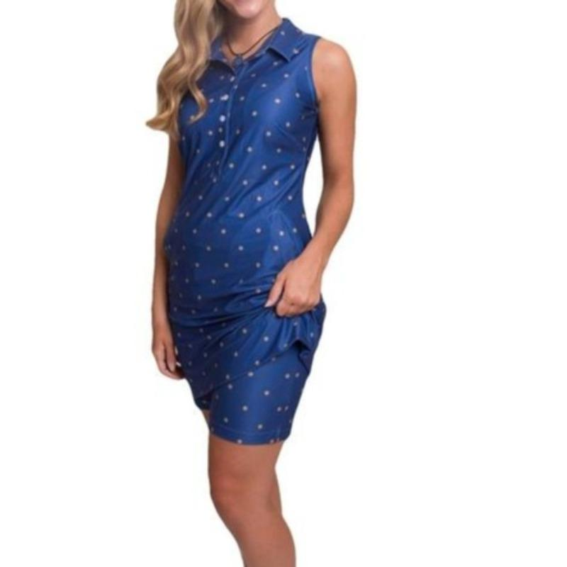 Tee2Sea Classic Golf Dress That Goes Everywhere (Royal)-Open Court