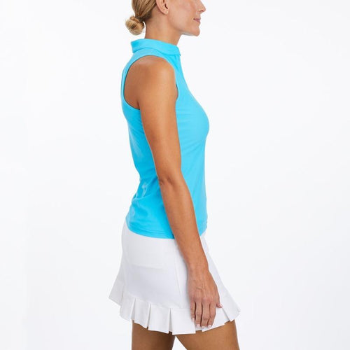 Tzu Tzu Bella Mock Neck Top - Blue Lagoon-Open Court