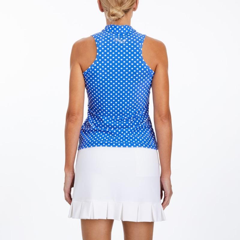 Tzu Tzu Bella Mock Neck Top - Periwinkle Dotty Tops - Open Court