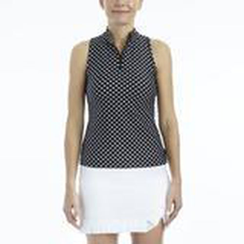 Tzu Tzu Bella Mock Neck Top - Black Dotty-Open Court