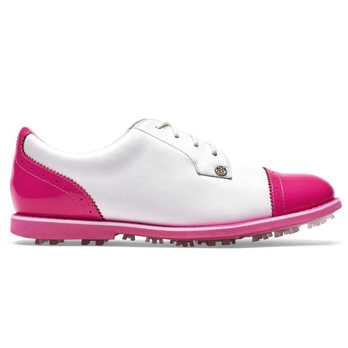 G/FORE Cap Toe Gallivanter Golf Shoe - Snow/Day Glo Pink-Open Court