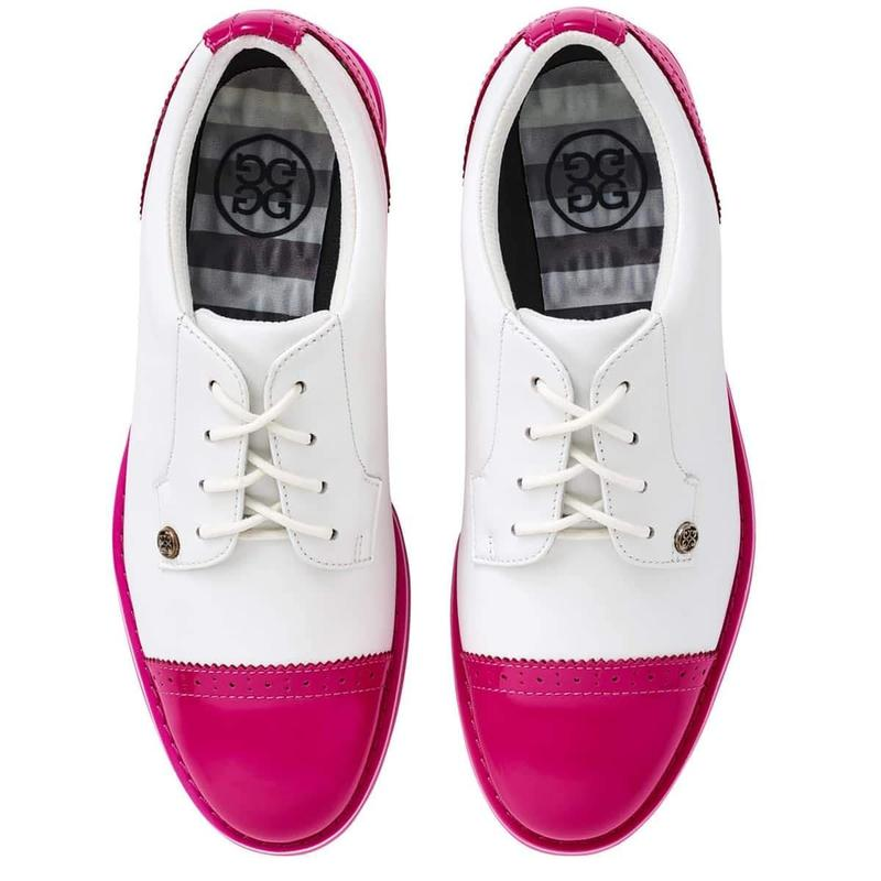 G/FORE Cap Toe Gallivanter Golf Shoe Snow/Day Glo Pink-Open Court