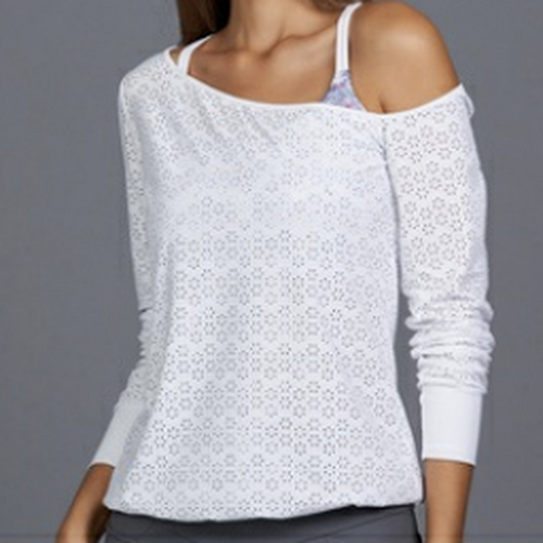 Denise Cronwall All Season Sheer Pullover Top-Open Court