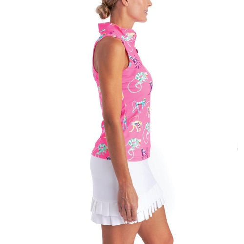 Tzu Tzu Bella Mock Neck Top - Pink Monkey See-Open Court