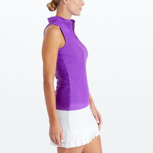Tzu Tzu Bella Mock Neck Top - Ultraviolet-Open Court