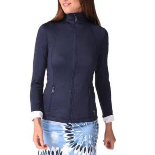 Golftini Brushed Tech Jacket - Navy/White-Open Court