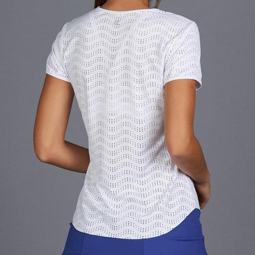 Denise Cronwall Royal Sport Lacy Tee - White-Open Court