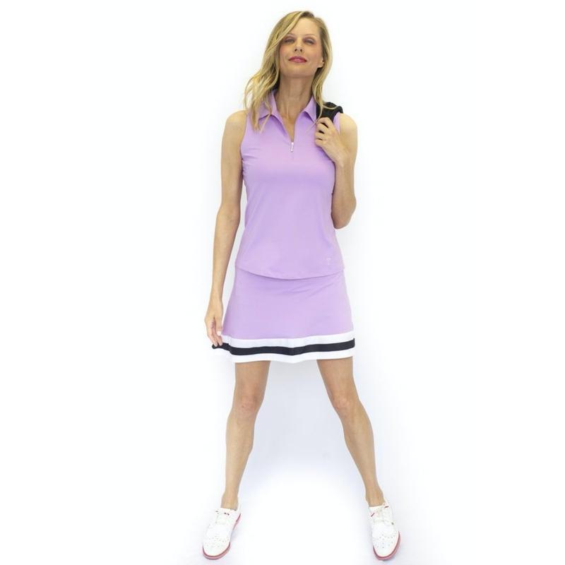 Golftini S/L Zip Tech Polo - Lavender Tops - Open Court